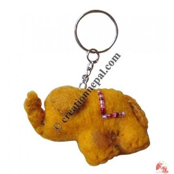 Elephant shape felt key ring
