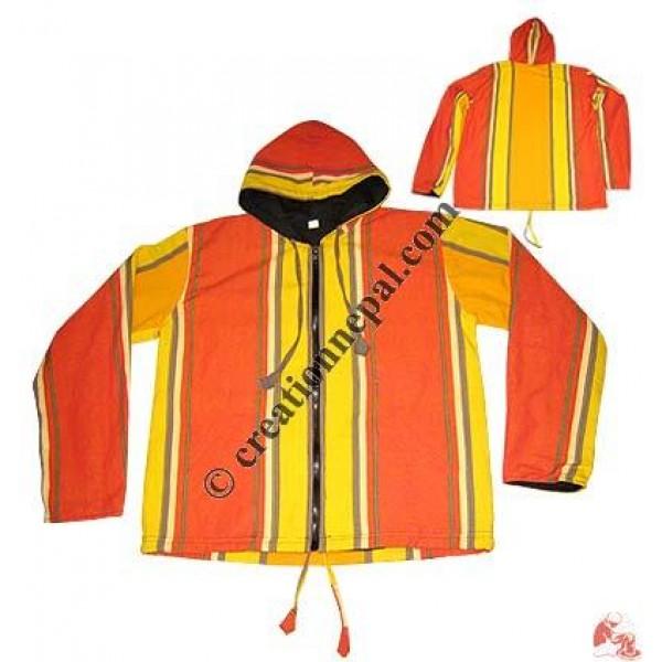 Big stripes shyama cotton hooded jacket