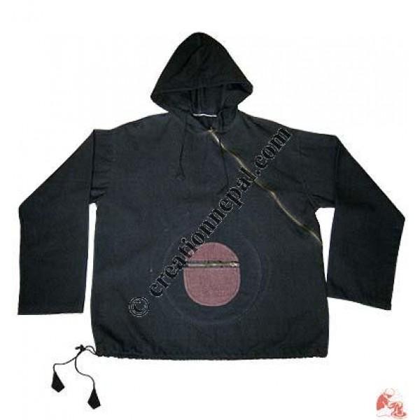 Plain shyama round-pocket hooded jacket