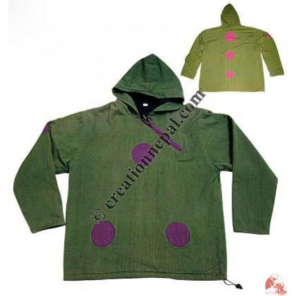 Shyama round patch hooded jacket