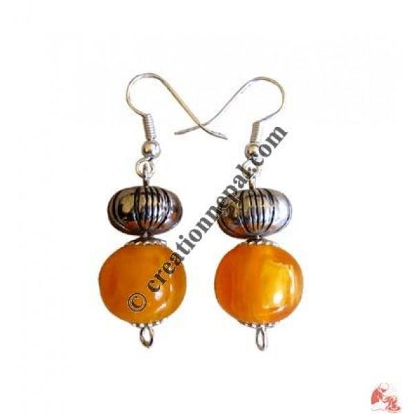 Amber beads ear ring12
