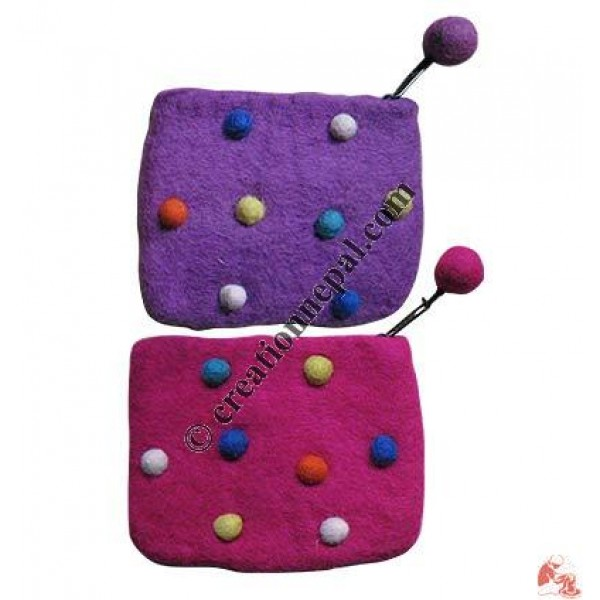 Felt dots coin purse