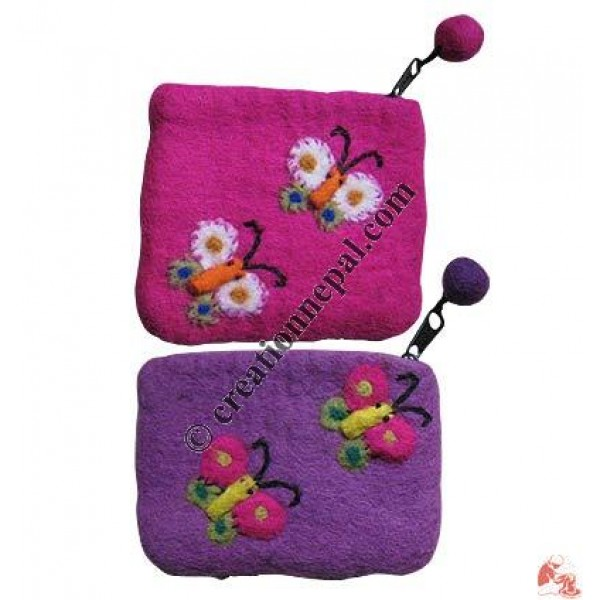 Felt butterfly coin purse