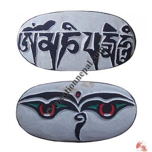 Buddha eye carved stone