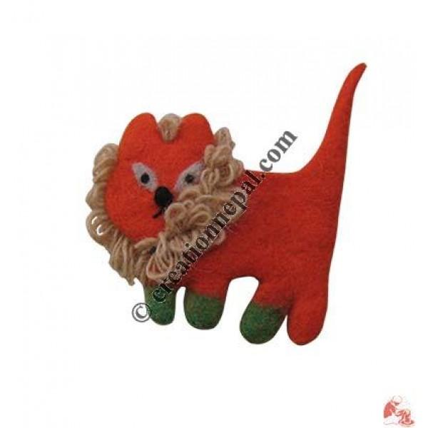 Tiny lion felt purse