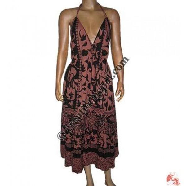 Circular printed cotton long dress