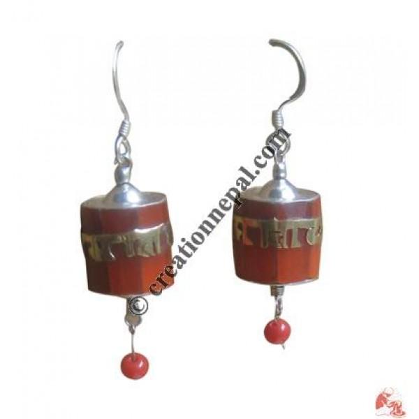 Coral prayer wheel ear ring