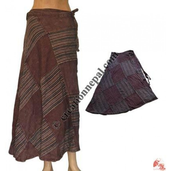 Matching color patch-work long wrapper skirt