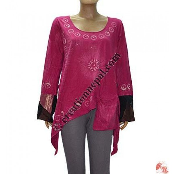 Brush painted fine rib crazy sleeves top