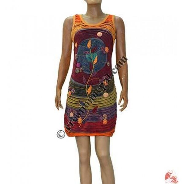 Razor cut flower emb dress