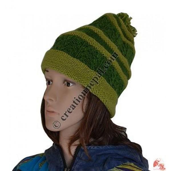 Unique stripes 2-color woolen hat