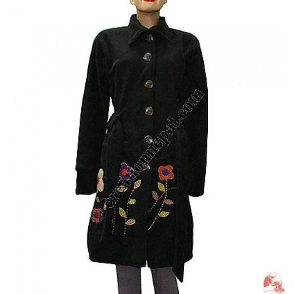 Flower emb fleece long coat