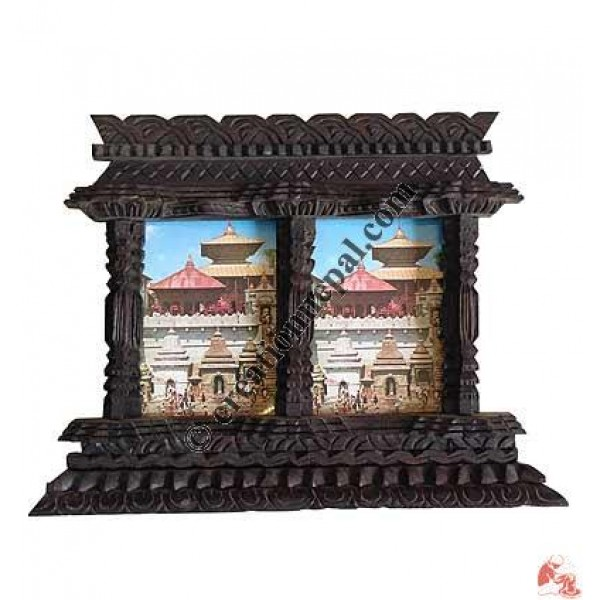 Creation Nepal Wooden Carved Double Photo Frame Handicrafts Clothing