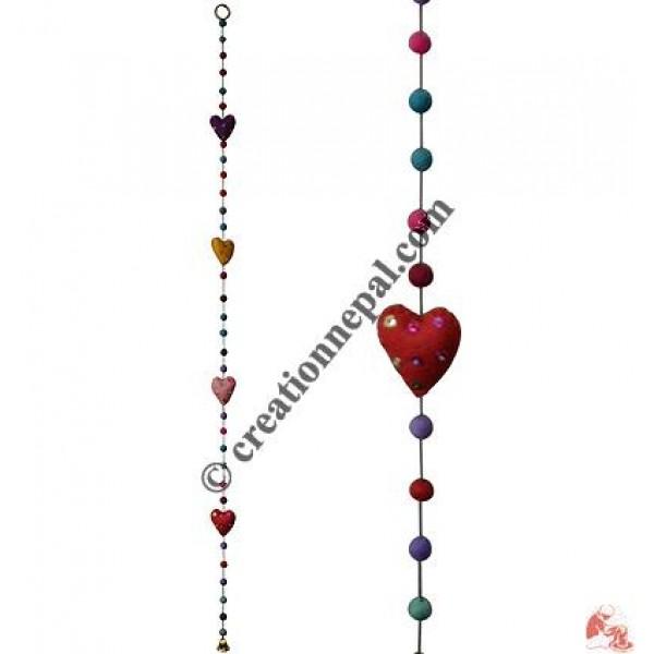 Felt beads-heart hanging