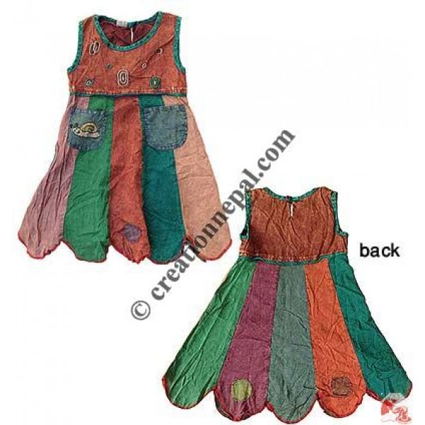 Poplin patch stone wash kids dress