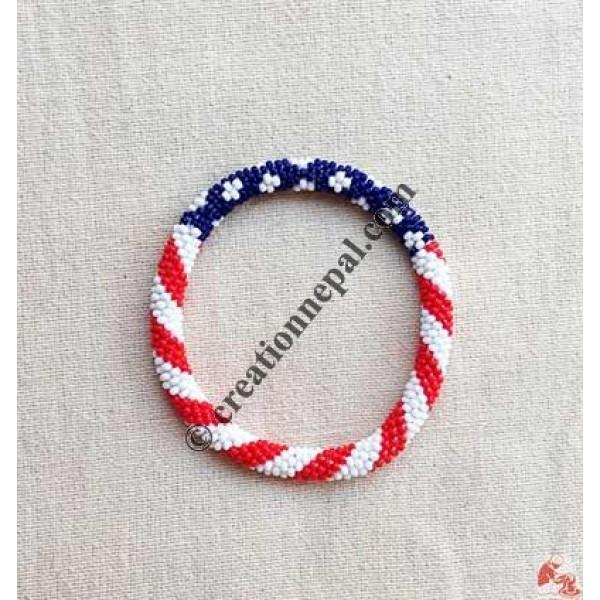 Glass beads US flag bangle