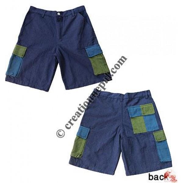Dis-color box pockets shorts