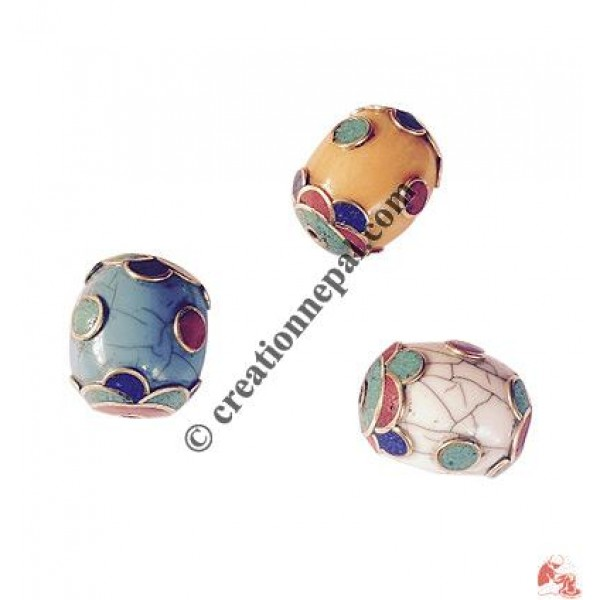 Decorated amber drum shape beads