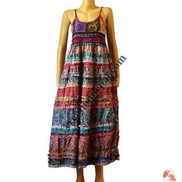 Rib-top sari silk layer dress