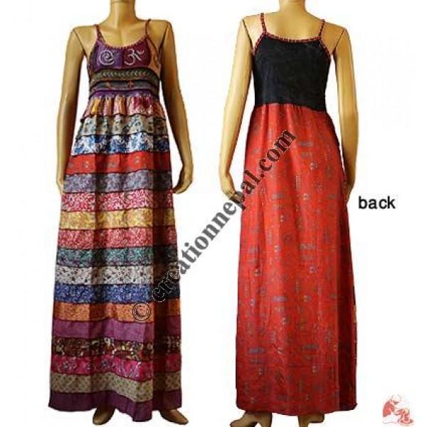 Rib-top sari silk front-layers dress