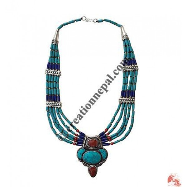 Turquoise-Lapis Tibetan necklace