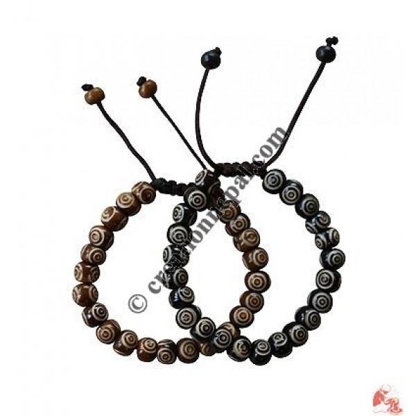 Chakra carved beads wrist band
