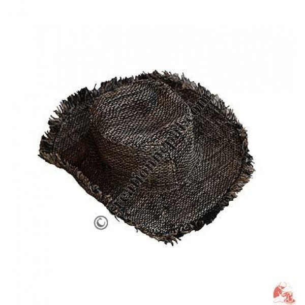 Black-natural hemp round hat