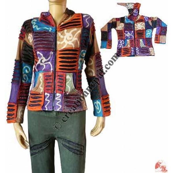 Creation Nepal Razor Cut Patch And Prints Jacket Handicrafts