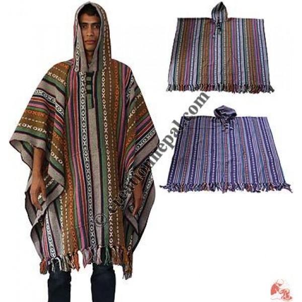 Colorful gheri cotton poncho