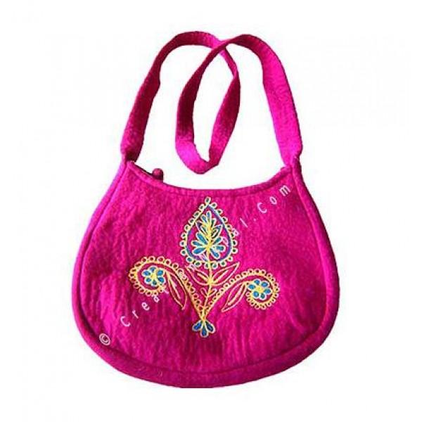Flower stitched felt bag