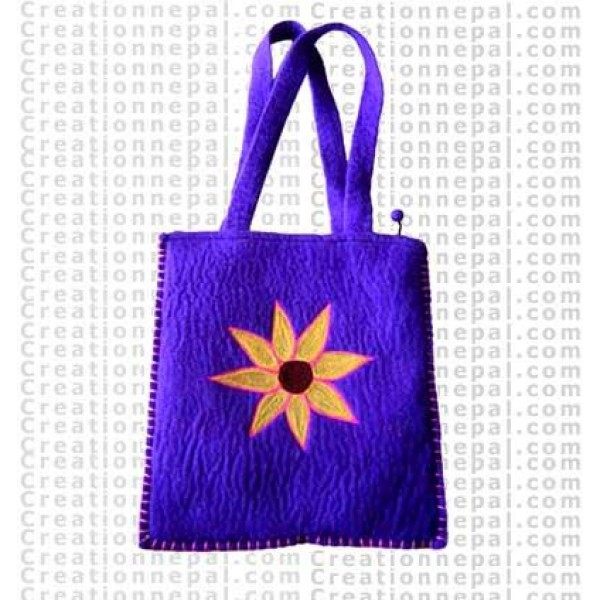 Sun Flower stitched felt bag