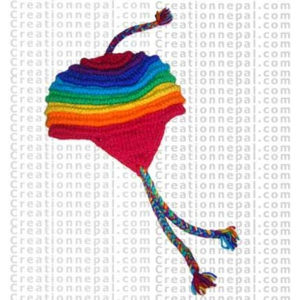 Rainbow woolen ear hat