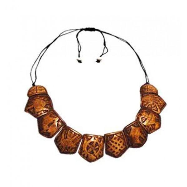 Astamangala carved bone necklace
