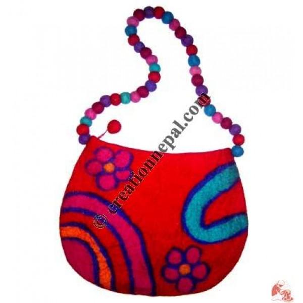 Rainbow and Flowers felt bag