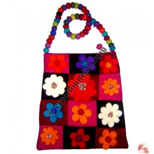 Patch-work flower felt bag