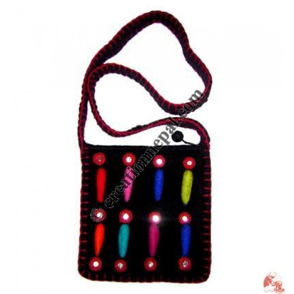 Mirror design crochet felt bag