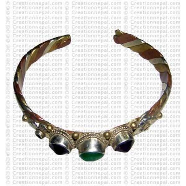 3 stone metal bangle