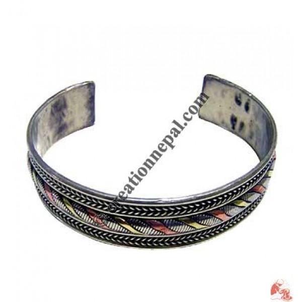 Mixed metal braided bracelet