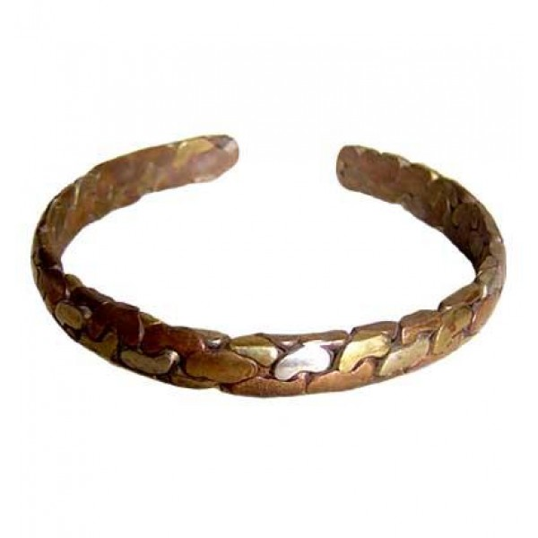 Mixed metal beaten bracelet