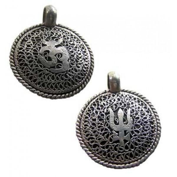 Om Trident filigree white metal pendant