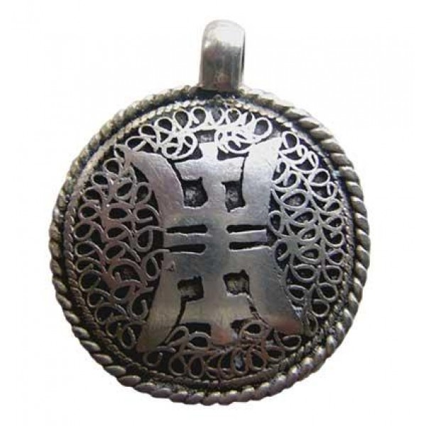 Tibetan OM white metal filigree pendant