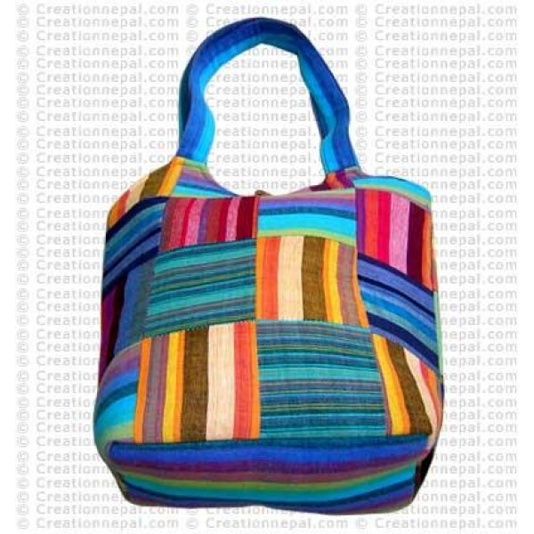 Stripe cotton patch bag