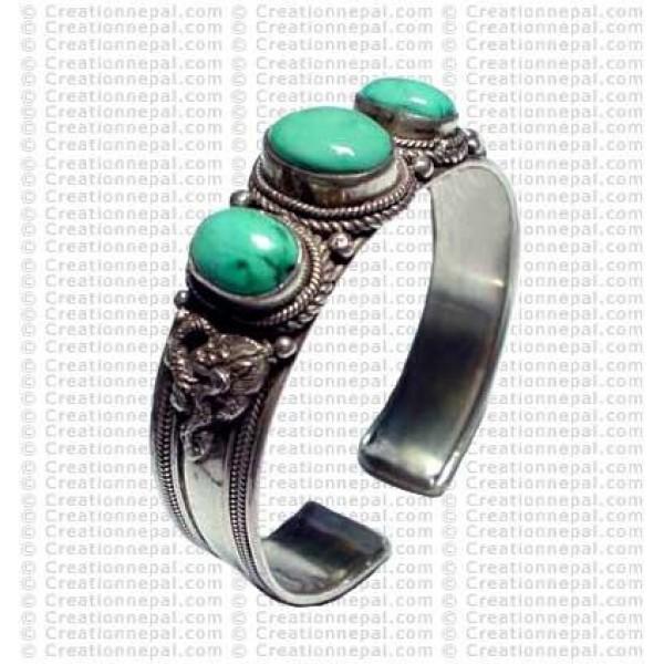 3-stone small Turquoise bangle