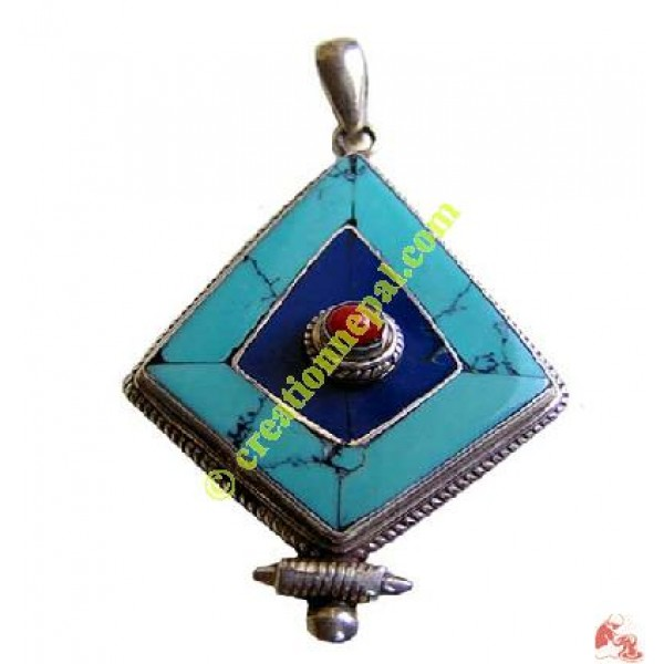 Diamond cut Tibetan pendant