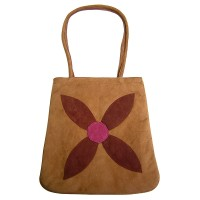 Flower patch faux suede tote bag