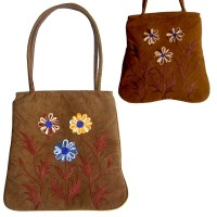 Three flowers faux suede tote bag