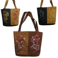 Leather suede 2-color tote bag