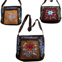 Faux suede front patch floral bag