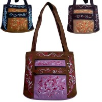 Leather suede 3-zippered tote bag