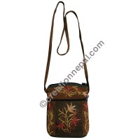 Leather suede small floral bag